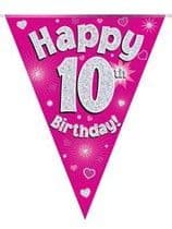 Pink Happy 10th Birthday Holographic Flag Banner