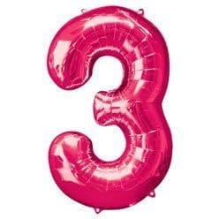 Pink Number 3 Balloon - 34