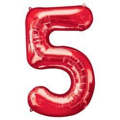 Red Number 5 Balloon - 34