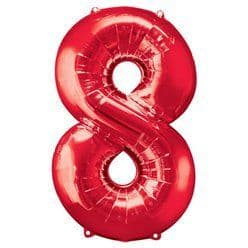 Red Number 8 Balloon - 34