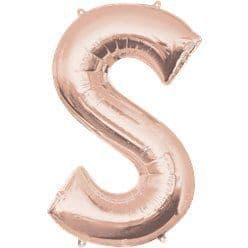 Rose Gold Letter S Balloon - 34