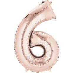 Rose Gold Number 6 Air Filled Balloon - 16