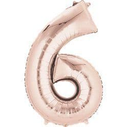 Rose Gold Number 6 Balloon - 34