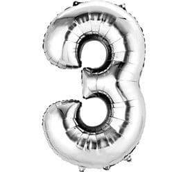 Silver Number 3 Balloon - 16
