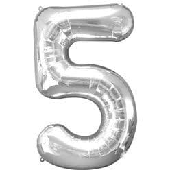 Silver Number 5 Balloon - 34