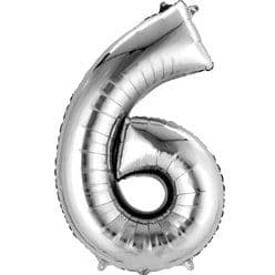Silver Number 6 Balloon - 16