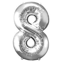 Silver Number 8 Balloon - 34
