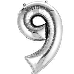 Silver Number 9 Balloon - 16
