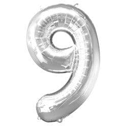 Silver Number 9 Balloon - 34