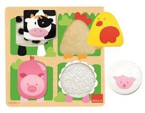 Goula Fabric Wooden Puzzle 4 Piece Jigsaw - Farm