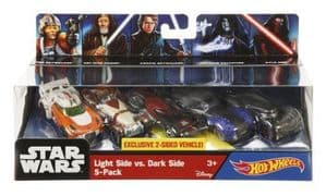Hot Wheels Star Wars Diecast Cars 5 Pack - Light Side vs Dark Side