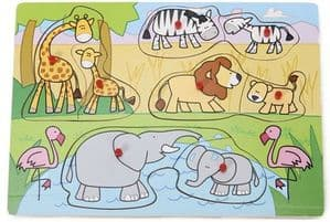 Wood Works Lift Out 8 Piece Peg Puzzle - Safari Animals
