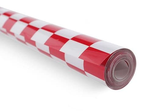 Covering Film Grill-work Red/White Small (20mm) Squares  (sold per meter )