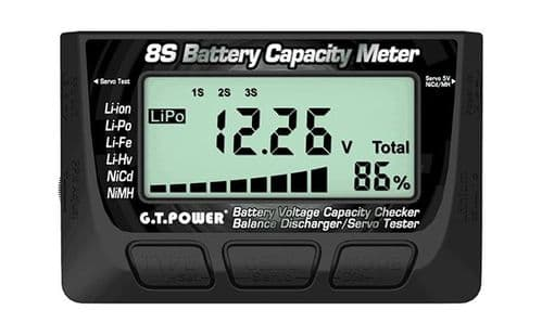 GT Power 8S Battery Capacity Meter ( Battery Voltage Capacity Checker  Balance Discharger