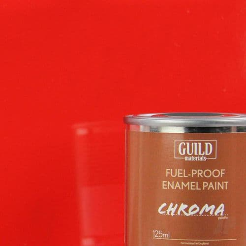 Guild Materials Chroma Red Gloss Enamel Fuel-Proof Paint (125ml Tin) GLDCHR6201