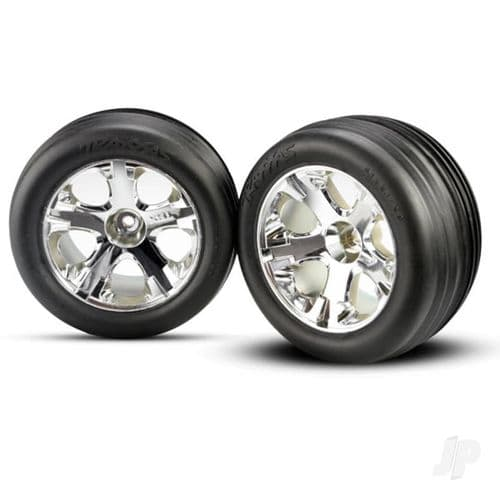 Traxxas Rustler Chrome Wheels and Ribbed Tyres (Pair) TRX3771