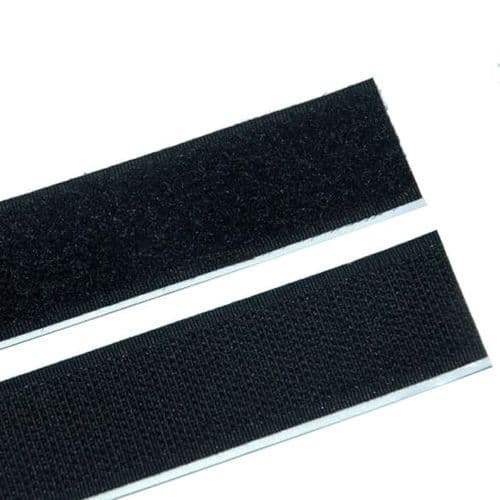 Velcro self Adhesive Backed  ( hooks & loops ) 500 mm L x 20mm w Black )