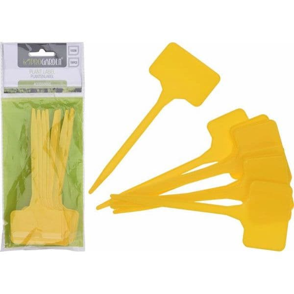 10 Yellow T-shaped Plant Markers (15cm)