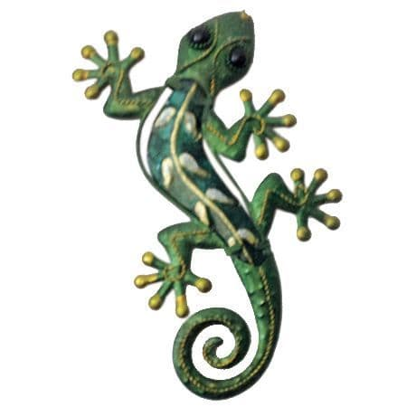 Small Metal/Glass Gecko Wall Plaque - 2 Colours