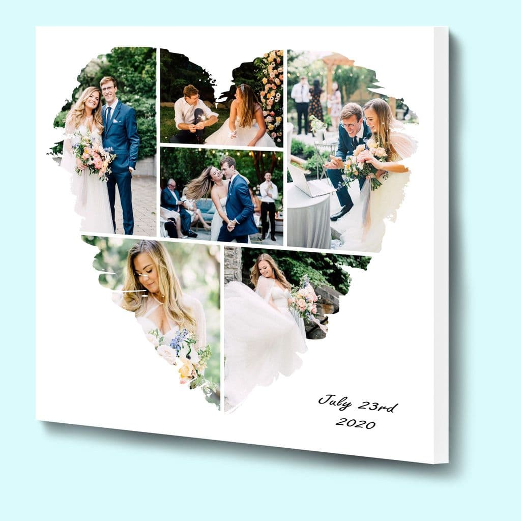 Design your own Heart Shaped Photo Collage using our online template 6 picture layout