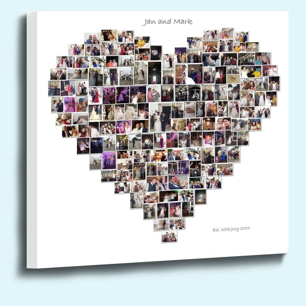 Personalised heart shape photo collage framed canvas print 18mm Deep