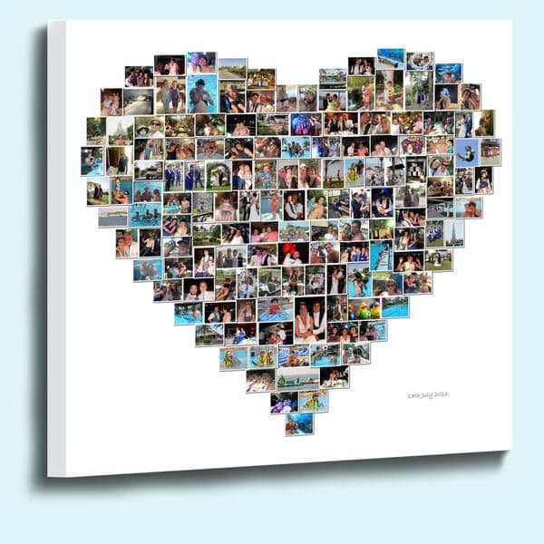 Personalised heart shape photo collage framed canvas print  38mm  deep
