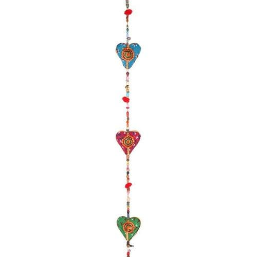 Multicoloured Hanging Hearts with Bell