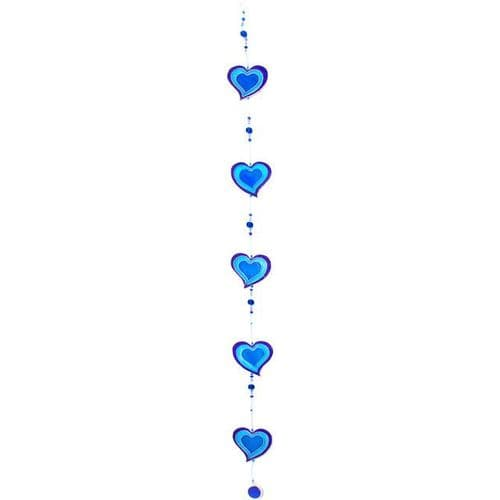 Purple & Blue String of Hearts - sun catcher