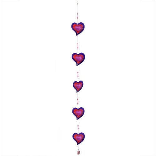 Purple & Red String of Hearts - sun catcher