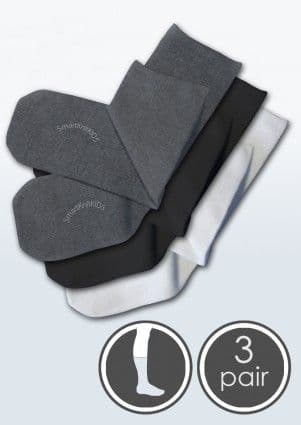 Absolutely Seamless Socks - SmartKnitKIDS ultimate comfort sock - Black/Grey/White - Value 3 Pack