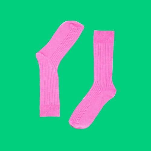 BAMBOO COTTON BLEND RIBBED SOCKS- #ELECTRICPINK