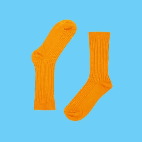 BAMBOO COTTON BLEND RIBBED SOCKS- #TANGERINESUNDOWN