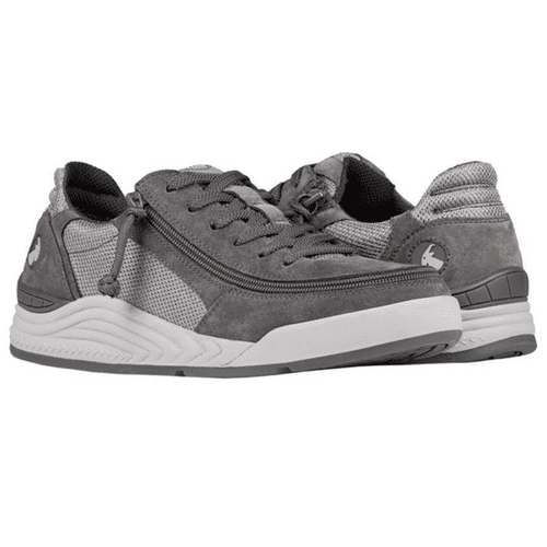 BILLY FOOTWEAR (MENS) - CHARCOAL & GREY FAUX SUEDE TRAINERS