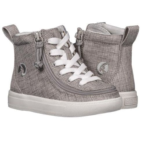 BILLY FOOTWEAR (TODDLERS) - HIGH TOP GREY JERSEY  LINEN SHOES