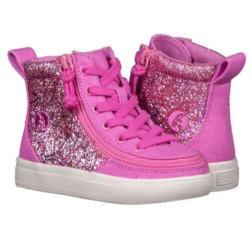 BILLY FOOTWEAR (TODDLERS) - HIGH TOP PINK GLITTER CANVAS SHOES