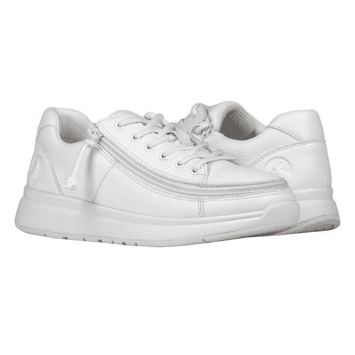 BILLY FOOTWEAR (WOMENS) - LOW TOP WHITE FAUX LEATHER SHOES*