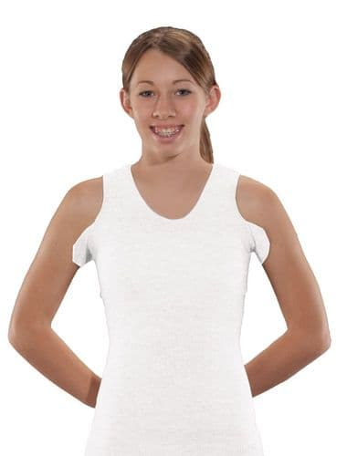 Seamless Unisex Vest for Brace Torso Interface- White Crew Neck with Bilateral Axilla Flaps
