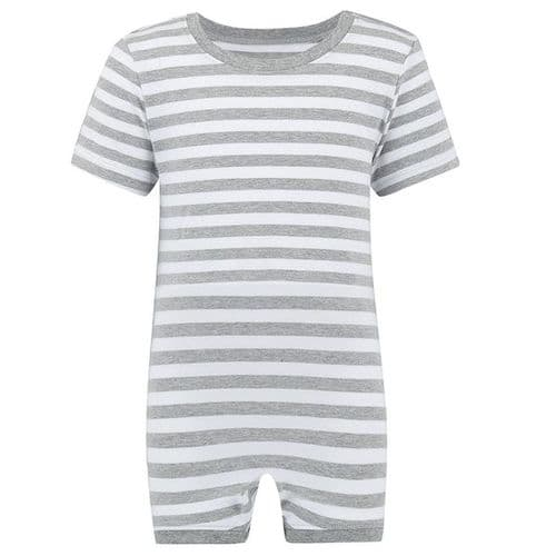 KayCey Super Soft Body Suit - Short Sleeve - Grey/White Stripe from