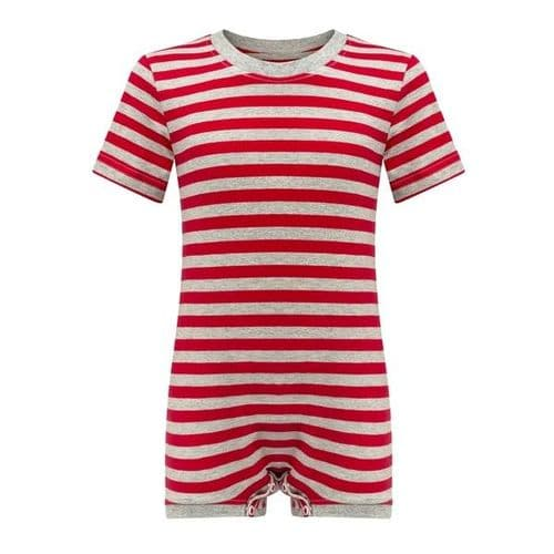 KayCey Super Soft Body Suit - Short Sleeve - RED/GREY STRIPE from
