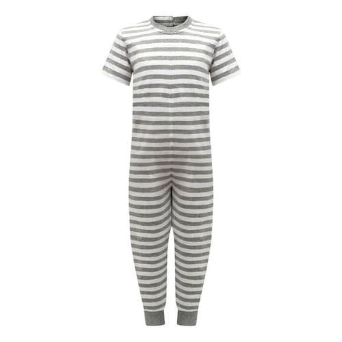 KayCey Super Soft Secret Zip Back Full Length Jumpsuit GREY/WHITE STRIPE  from