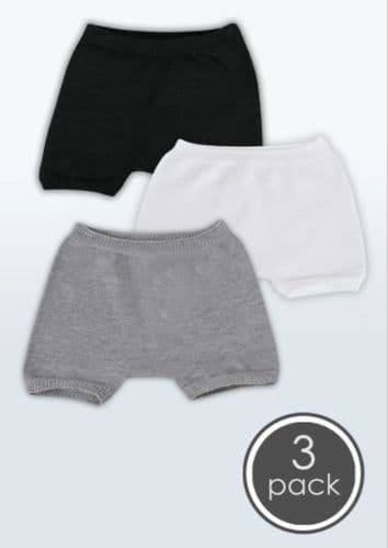 SmartKnitKIDS Seamless Undies for Boys - 3pack: Black/Grey/White Boxer Briefs