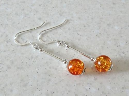 Amber Orange Crackle Glass Earrings With Sterling Silver Tubes