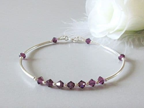 Amethyst Purple Sterling Silver Designer Bangle Bracelet With Austrian Crystals