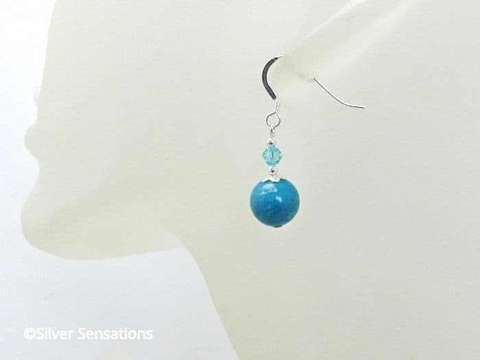 Aqua Blue Impression Jasper & Sterling Silver Earrings With Austrian Crystals