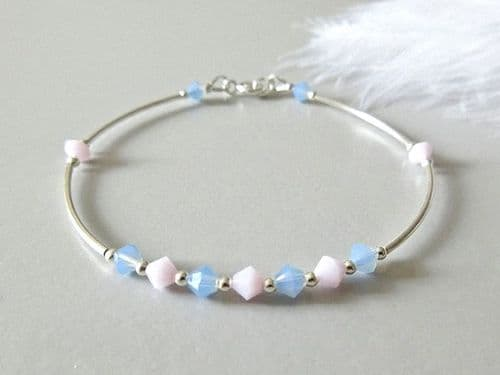 Baby Blue & Pink Austrian Crystals Bangle Bracelet With Sterling Silver Curve Tubes