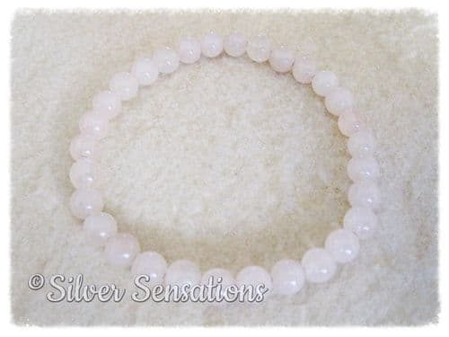 Baby Pink Rose Quartz Round Beaded Fashion Bracelet