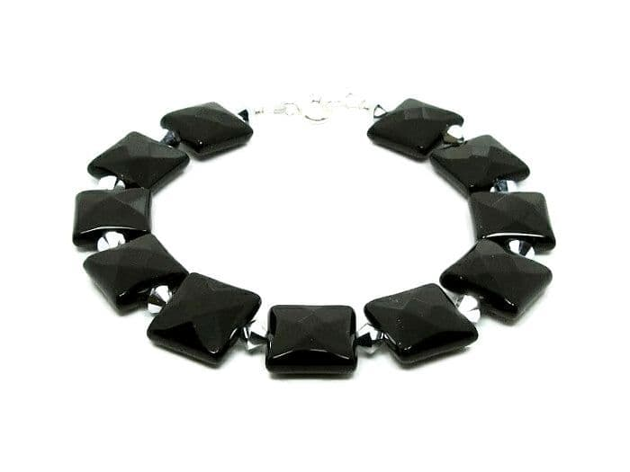 Black Faceted Onyx Square Beaded Bracelet With Silver Swarovski Crystals