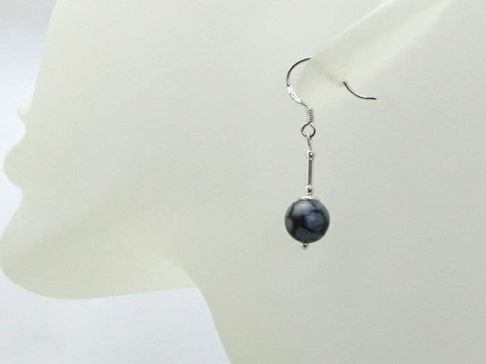 Black & Grey Snowflake Obsidian Earrings With Sterling Silver Tubes