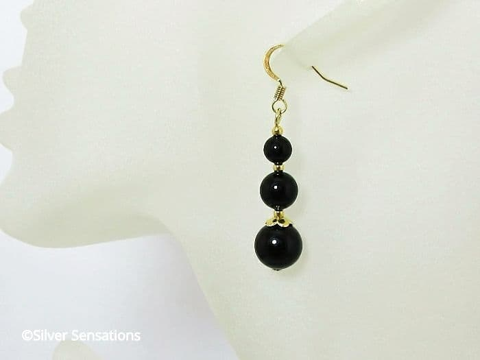 Black Onyx & Gold Plated Fashion Drop Earrings