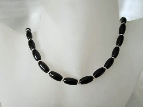 Black Onyx Rice Beads & Sterling Silver Necklace